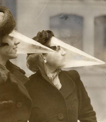 "These are ""Snowstorm Masks"" from the '20s, we guess. Good idea!"