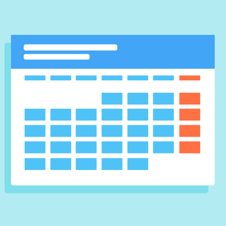 Calendar with all the weekends highlighted