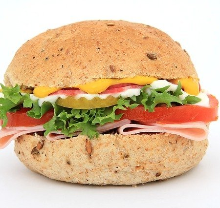 A ham and tomato sandwich