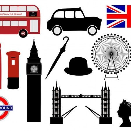 Iconic British things, including the London bus and union jack