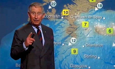 Prince Charles presenting the weather on the BBC