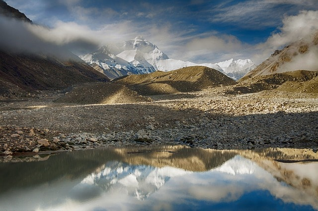 Mount Everest in the distance surrounded by countryside