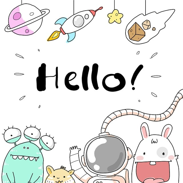 "Aliens saying ""Hello!"" with a person in a spacesuit"