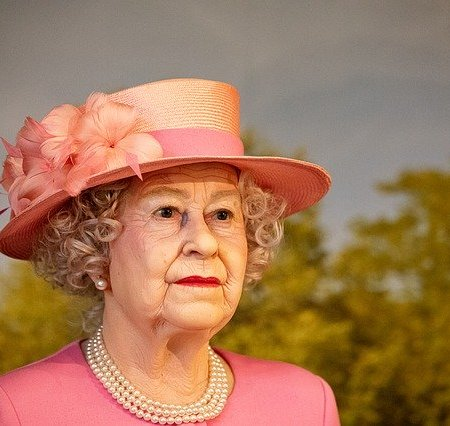 A wax figure of the Queen of England