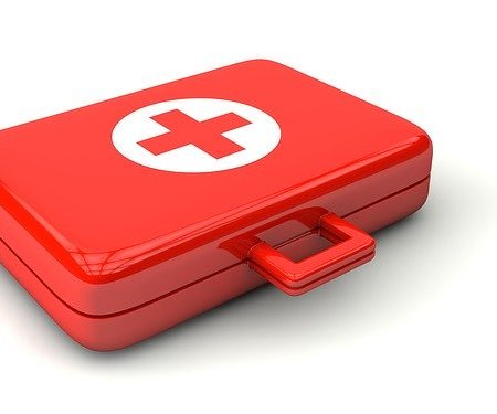 An emergency first aid kit
