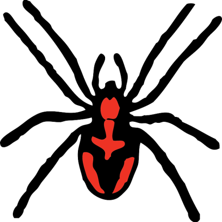 Black widow spider in cartoon form - a red back