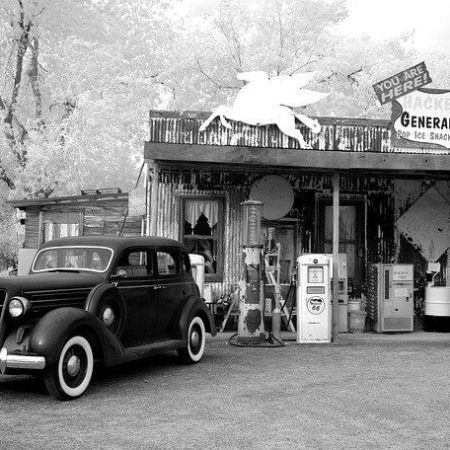 An old-fashioned general store from the 20th century.