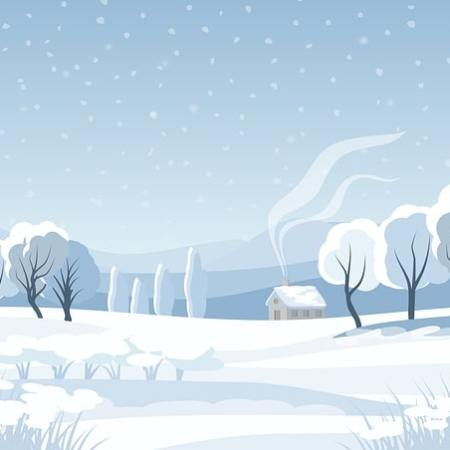 A cold winter countryside setting with a house in the distance and a smoking chimney