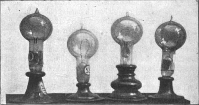 Thomas Edison's carbon filament lamps