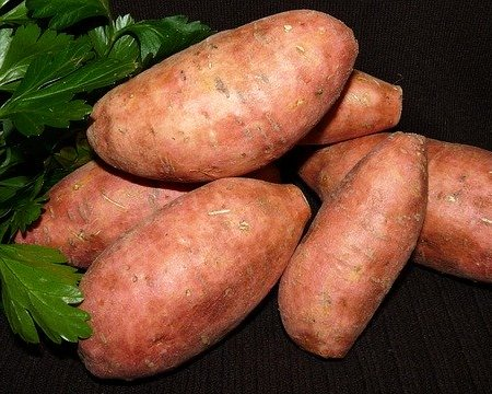 A bunch of sweet potatoes