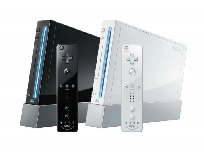 A black and white Nintendo Wii