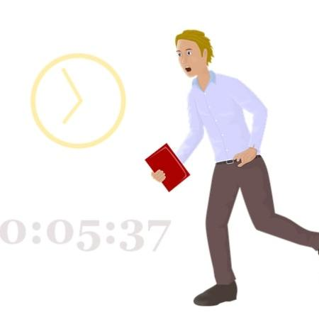 A man rushing late to work