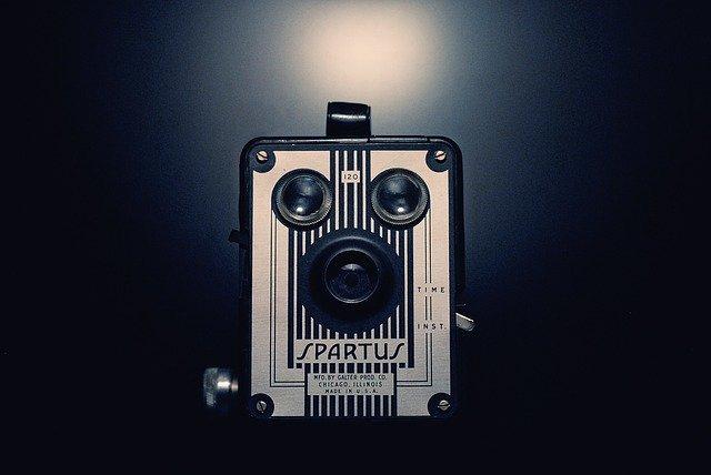 An old-school film camera