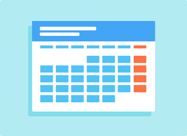A calendar month with the weekends highlighted