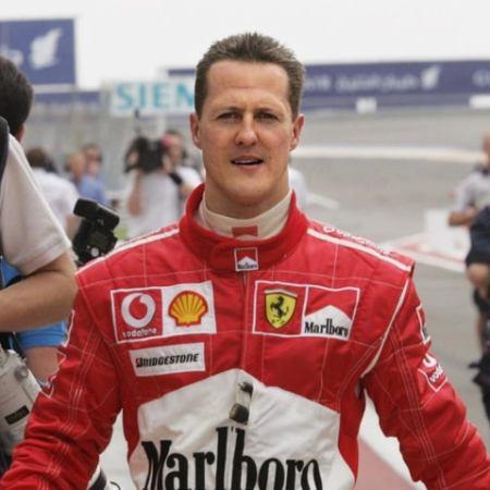 Michael Schumacher in his Ferrari overalls