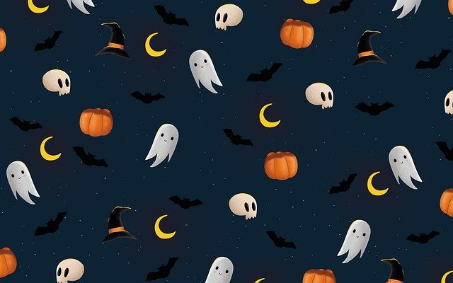 Spooky halloween wallpaper with pumpkins, ghosts, and witches' hats