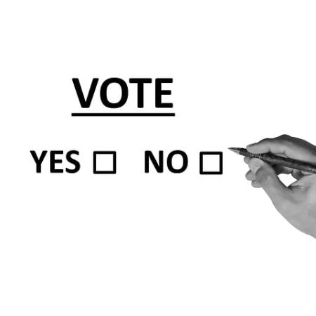 Vote yes or no political message