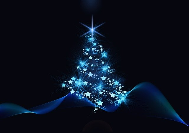 A Christmas tree covered in blue lights.