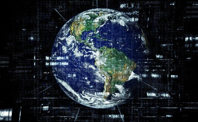 The Earth with Matrix code over it