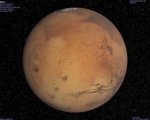 The beigey, brown planet Mars.