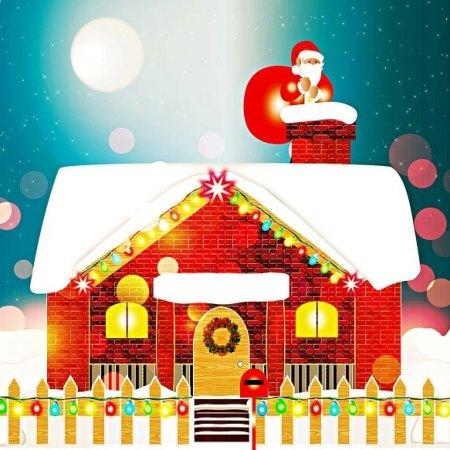Santa getting stuck up a chimney