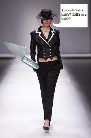 Your standard, knife wielding lunatic model.
