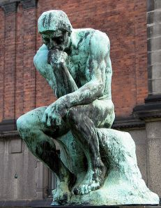 "The Thinker: ""Why am I naked and out in the open?"""