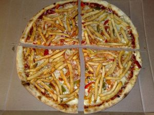 The famously healthy french fry pizza.