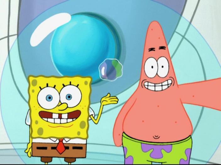 SpongeBob and Patrick having fun.