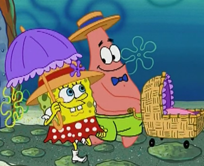 Doting parents SpongeBob and Patrick take their baby clam for a walk.