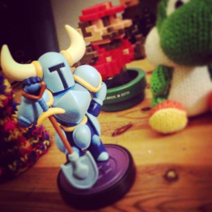 The shovel Knight amiibo with Mario and Yoshi