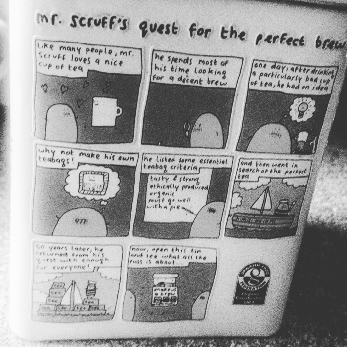 Mr. Scruff cartoon on tea tin