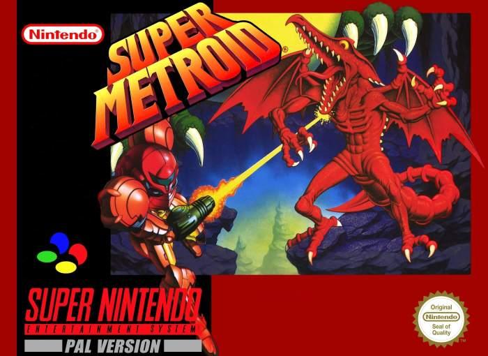 Super Metroid on the SNES box