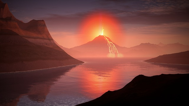 A volcano erupting out bad smells and lava