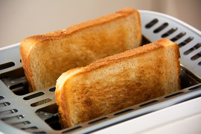 Toast in a toaster.