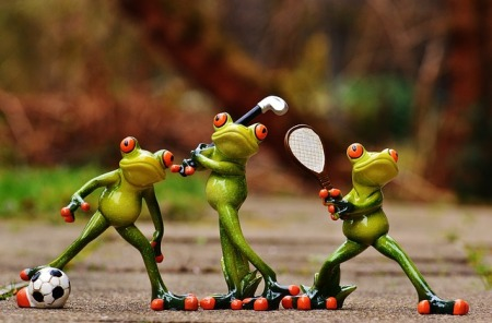 Frogs playing sports games