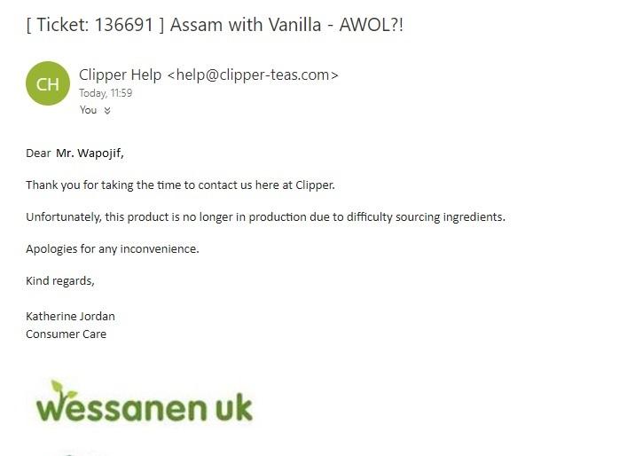 Assam tea with vanilla issue