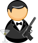 James Bond's gun and drink