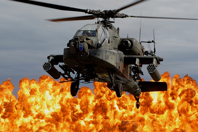 A helicopter and a big explosion