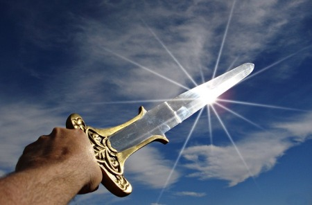 A sword glowing in the sunlight