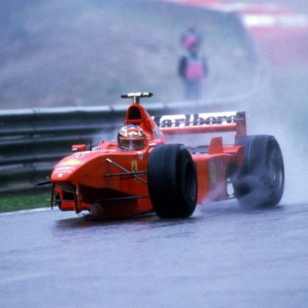 Michael Schumacher driving a broken Ferrari at Spa in 1998