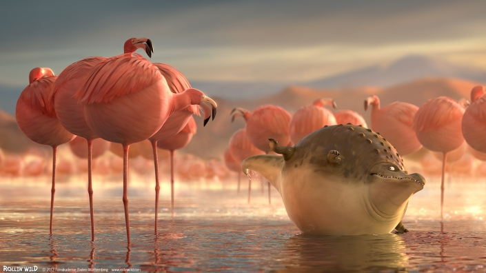 Rollin' Wild animation of a giant crocodile and some ballooned up flamingo.