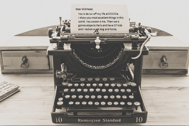 Love letter in a typewriter