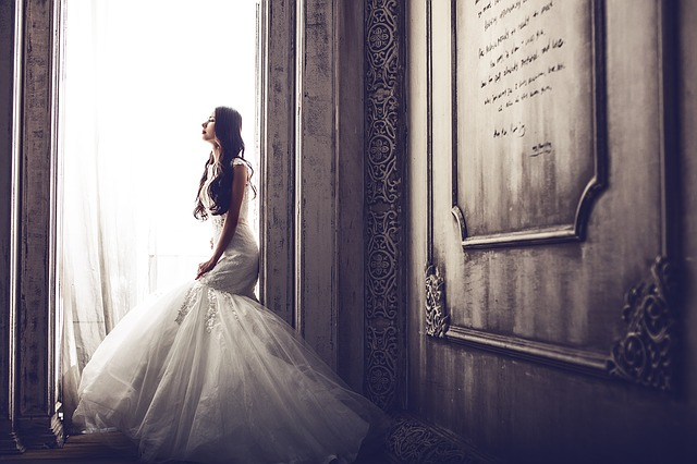 A woman in a wedding dress