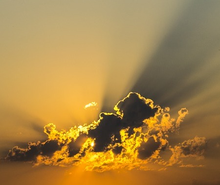 Clouds with sunshine shining through