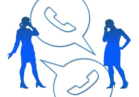Silhoutte of women on the phone