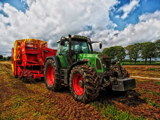 Tractor in action on a field