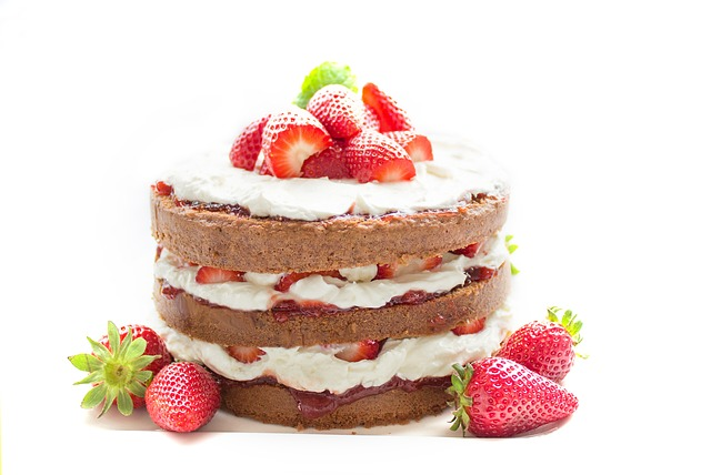 A cake with strawberries