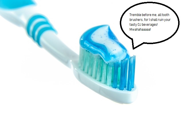 A toothbrush and toothpaste