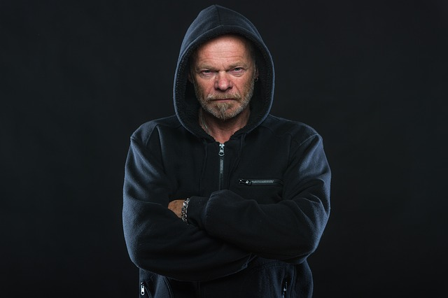 An angry man in a hoodie